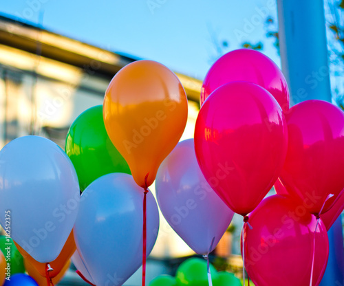 colored balloons in the blue sky © pmmart