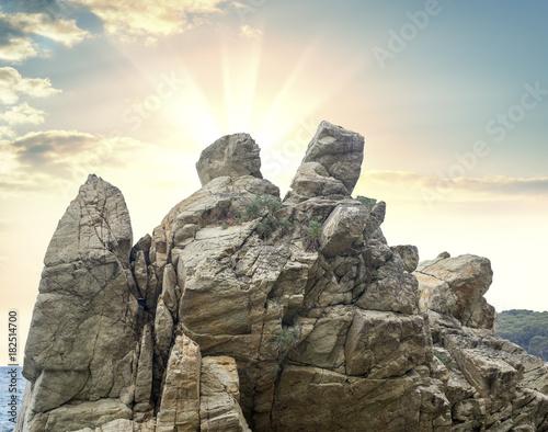 Fotobehang Zomer Fantastic big rocks at sundown time