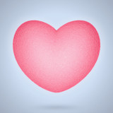 Pink felt heart isolated on pale blue background. 3D rendering - 182518705
