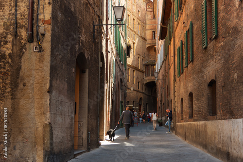 Fototapeta Beautiful medieval narrow street in the spring, Siena, Italy. Historic centre of Siena has been declared by UNESCO a World Heritage Site.