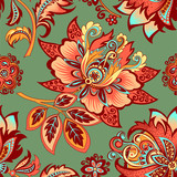 seamless ornament on a green background  - 182521126