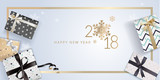 Elegant New Years greeting card. Vector illustration concept for greeting cards, web banner, flayer brochure, party invitation card. - 182521720