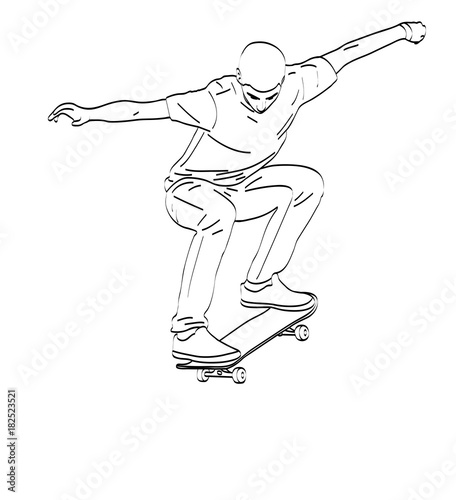 Aluminium Skateboard skateboarder line art - vector