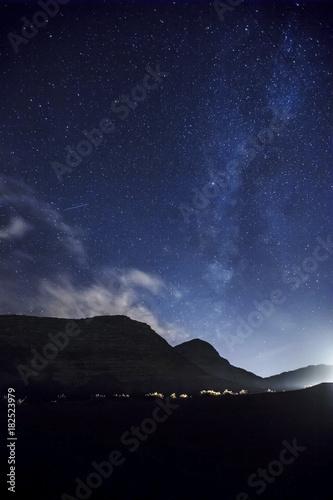 Night sky with stars. Wadi Rum Desert landscape Poster