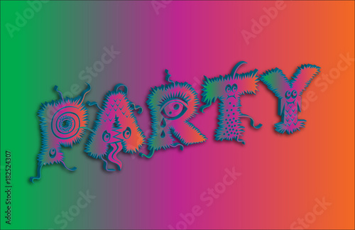 Fototapeta Party. 3D word with cartoon fonts on colorful background