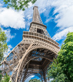 Eiffel tower in the summer time. Low angle view. 28/07/2017 Paris.France. - 182525991
