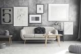 Grey sofa in living room - 182526749