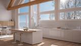 Modern kitchen in classic villa, loft, big panoramic windows on winter meadow, white minimalist interior design - 182526785