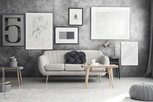Plakat Grey sofa in living room