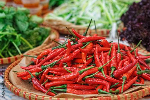 Staande foto Hot chili peppers red pepper sprinkled on a slide