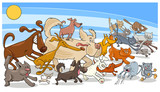 cartoon running dog and cats group - 182529123