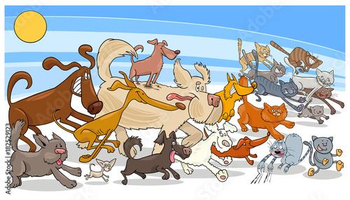 cartoon running dog and cats group
