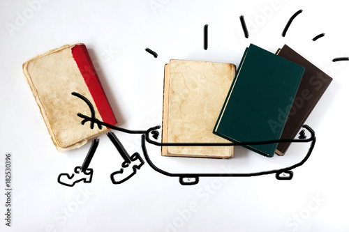 old books on white background Poster