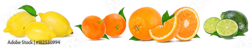 .Citrus Fruit Set (tangerine, orange, lime, lemon) isolated on white background. - 182530994