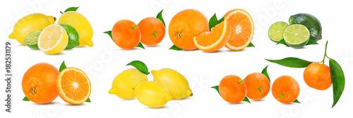 .Citrus Fruit Set (tangerine, orange, lime, lemon) isolated on white background. - 182531179