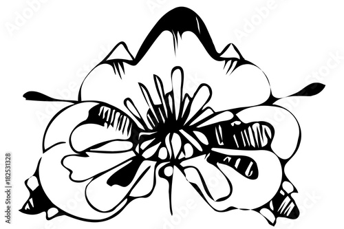 Fotobehang Abstractie sketch abstract flower