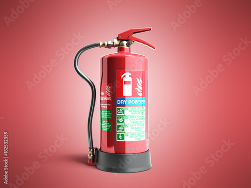 Dry power Fire extinguisher 3d render on red background