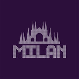 Original logo of Milan city with caption. Cathedral architecture, famous monument in Italy. Landmark icon. Graphic design template. Isolated vector illustration
