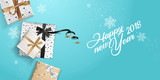 Happy New Year greeting card. Vector illustration concept for greeting cards, web banner, flayer brochure, party invitation card. - 182537180