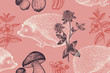 Seamless pattern with animals, flowers and mushrooms.