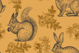 Seamless pattern with animals and flowers. - 182537569