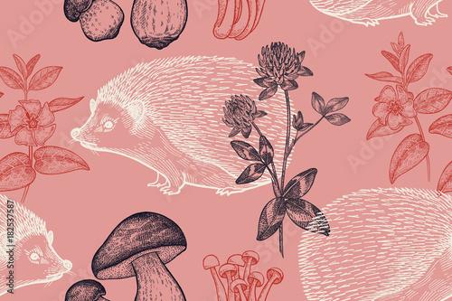 Fototapeta Seamless pattern with animals, flowers and mushrooms.