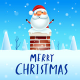 Merry Christmas! Santa Claus in the chimney. Snow scene. Winter landscape. - 182538166