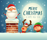 Merry Christmas! Santa Claus in the chimney. Santa Claus, Reindeer and Elf under the moonlight. Winter landscape. - 182538357