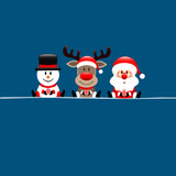 Snowman, Rudolph & Santa With Gift Blue
