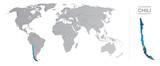 Chili dans le monde, avec frontières et tous les pays du monde séparés