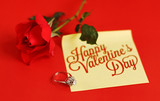 Red rose, ring and happy valentines day note - 182539188
