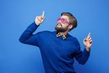 Man with sunglasses dancing at studio shot - 182540112