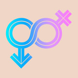 Gender Fluid Blue to pink gradient Icon on peach background.  The icon incorporate the symbol of infinity to represent the multitude ways gender expresses itself in humanity. - 182543185