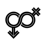 Gender Fluid Black Inline Icon. The icon incorporates the symbol of infinity to represent the multitude ways gender expresses itself in humanity. - 182546568
