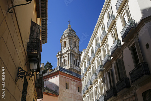 Plexiglas Smalle straatjes architecture of Malaga old town with cathedral, Andalusia, Costa del Sol, Spain