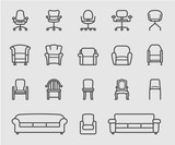 Chair and Sofa of front view line icon - 182547527