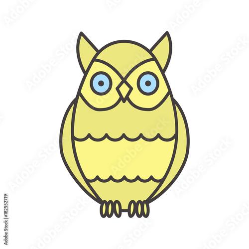 Plexiglas Uilen cartoon Owl color icon