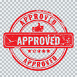 Approved stamp with old vintage grunge effect. Isolated and excluded as one shape, easy to change color.