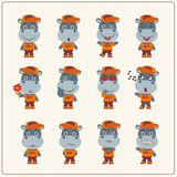 Collection of isolated hippo in clothes and cap. Set of hippopotamus little boy in cartoon style. - 182556787