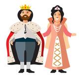 Vector King and Princess. Flat style colorful Cartoon illustration.