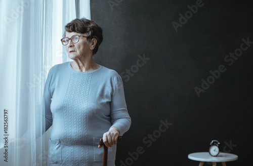 Grandmother with insomnia problem - 182563797