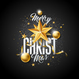 Vector Merry Christmas Illustration with Gold Glass Ball, Cutout Paper Star and Typography Elements on Black Background. Holiday Design for Premium Greeting Card, Party Invitation or Promo Banner.
