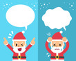 Cartoon Santa Claus expressing different emotions with speech bubbles