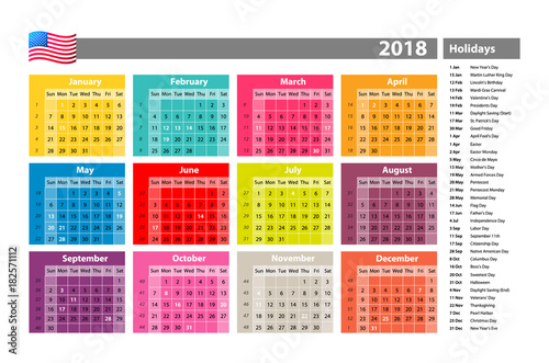 vector Simple calendar 2018 marked with the official holidays for the USA. The week starts on sunday.