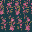 Floral seamless pattern with pink roses in vintage style - 182573120