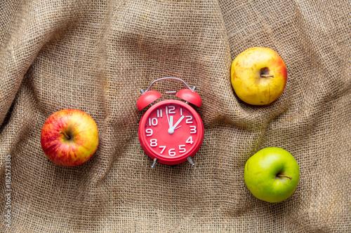 Apples and alarm clock