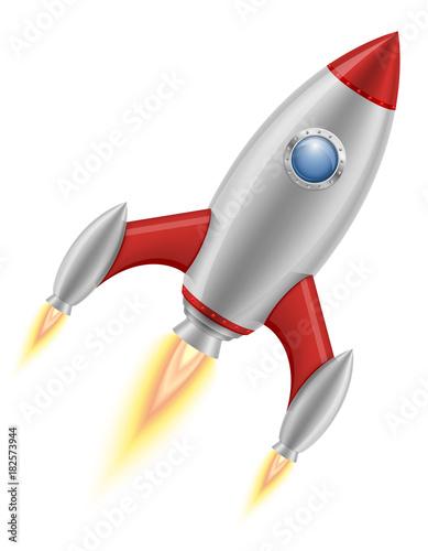 Foto op Canvas UFO space rocket retro spaceship vector illustration