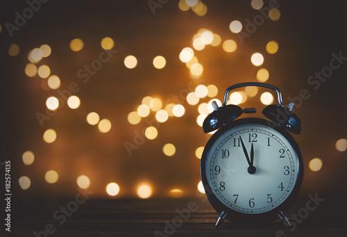 Vintage alarm clock and Fairy Lights