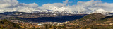 Winter panoramic view of the City of Gap, its basin and in the distance, the mountain peaks of the Ecrins National Park. Hautes-Alpes, Southern French Alps, France - 182576589