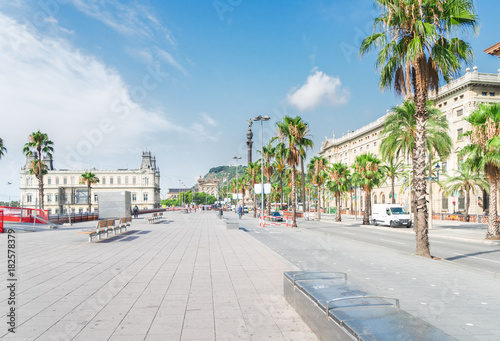 View of embankment of Barcelona at summer day, Barcelona, Catalonia Spain